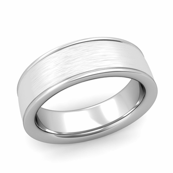 Brushed Finish Mens Wedding Band in Platinum Comfort Fit Band, 7mm