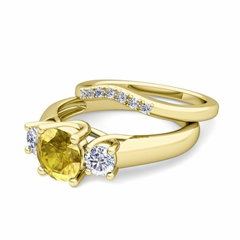 Trellis Diamond and Yellow Sapphire Three Stone Ring Bridal Set in 18k Gold, 7mm