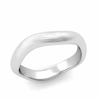 Curved Brushed Finish Wedding Ring in 14k Gold Comfort Fit Band, 4mm
