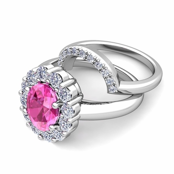 Diana Diamond and Pink Sapphire Engagement Ring Bridal Set in Platinum, 7x5mm