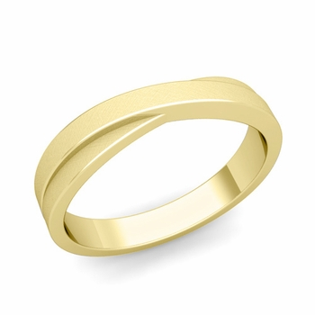Infinity Wedding Band in 18k Gold Brushed Finish Comfort Fit Ring, 4mm
