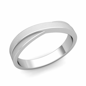 Infinity Wedding Band in Platinum Brushed Finish Comfort Fit Ring, 4mm