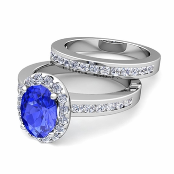 Halo Bridal Set: Diamond and Ceylon Sapphire Engagement Wedding Ring in Platinum, 7x5mm
