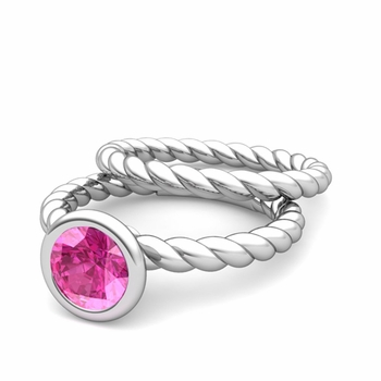 Bezel Set Pink Sapphire Ring and Rope Wedding Band Bridal Set in 14k Gold, 7mm