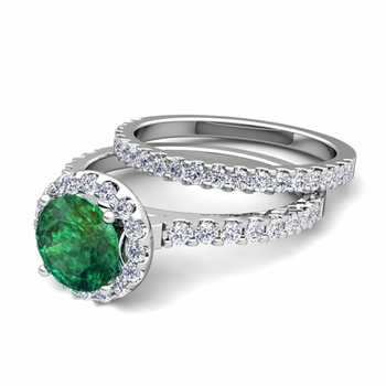 Bridal Set: Pave Diamond and Emerald Engagement Wedding Ring in Platinum, 7mm