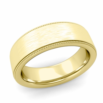 Milgrain Flat Wedding Ring in 18k Gold Comfort Fit Band, Brushed Finish, 7mm