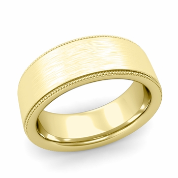 Milgrain Flat Wedding Ring in 18k Gold Comfort Fit Band, Brushed Finish, 8mm