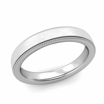 Milgrain Flat Wedding Ring in Platinum Comfort Fit Band, Brushed Finish, 4mm