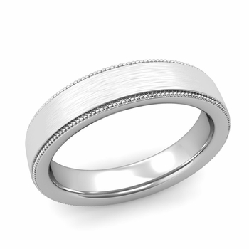 Milgrain Flat Wedding Ring in Platinum Comfort Fit Band, Brushed Finish, 5mm
