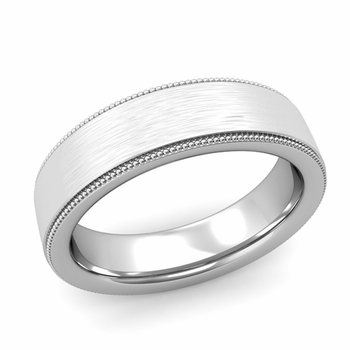 Milgrain Flat Wedding Ring in Platinum Comfort Fit Band, Brushed Finish, 6mm