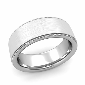 Milgrain Flat Wedding Ring in Platinum Comfort Fit Band, Brushed Finish, 8mm