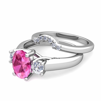 Classic Diamond and Pink Sapphire Three Stone Ring Bridal Set in Platinum, 7x5mm