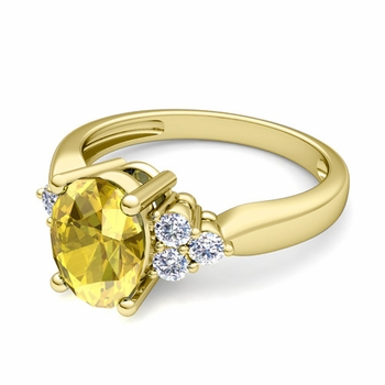 Three Stone Diamond and Yellow Sapphire Engagement Ring in 18k Gold, 7x5mm