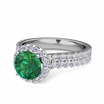Two Row Diamond and Emerald Engagement Ring in 14k Gold, 7mm