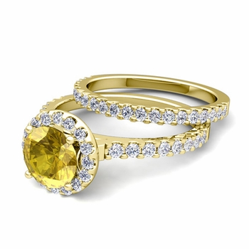 Bridal Set: Pave Diamond and Yellow Sapphire Engagement Wedding Ring in 18k Gold, 7mm