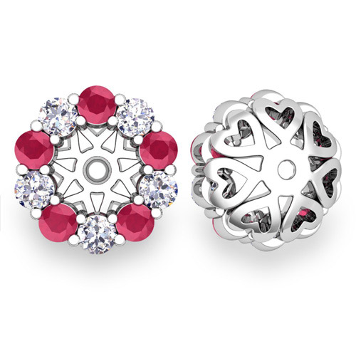 Halo Diamond And Ruby Earring Jackets In 14k Gold 5mm