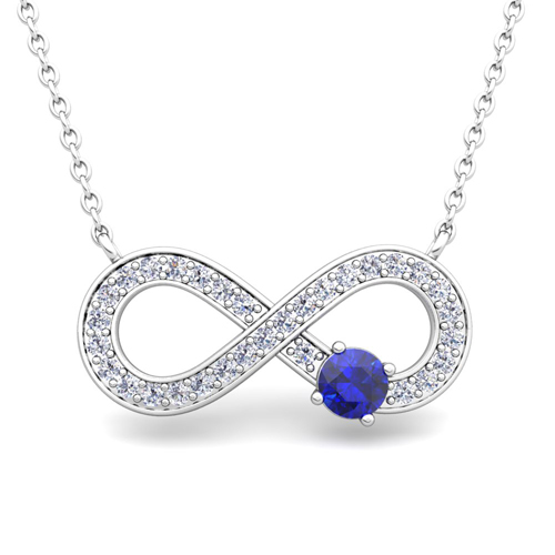Solitaire Blue Sapphire And Diamond Infinity Necklace