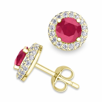 Pave Diamond and Ruby Earrings in 18k Gold Studs, 5mm