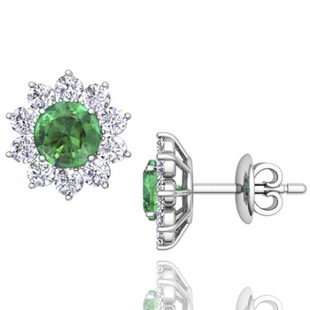 Emerald and Diamond Halo Earrings in 14k Gold Studs, 5mm