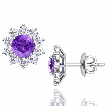 Amethyst and Diamond Halo Earrings in 14k Gold Studs, 5mm