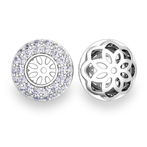 Pave Set Diamond Earring Jackets In 18k Gold 5mm