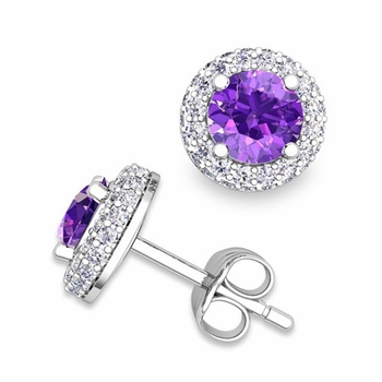 Pave Diamond and Amethyst Earrings in 14k Gold Studs, 5mm