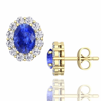 Oval Ceylon Sapphire and Halo Diamond Earrings in 18k Gold, 7x5mm Studs