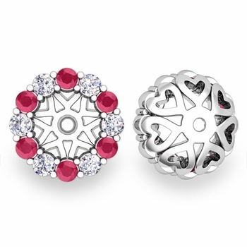 Halo Diamond and Ruby Earring Jackets in 14k Gold, 6mm
