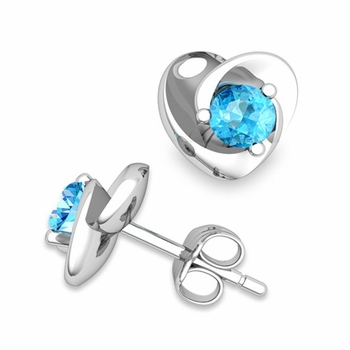 Petal Heart Blue Topaz Stud Earrings in 14k Gold, 4x4mm