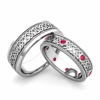 Matching Celtic Wedding Bands in 14k Gold Milgrain Ruby Ring