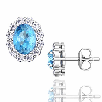 Oval Blue Topaz and Halo Diamond Earrings in 14k Gold, 7x5mm Studs