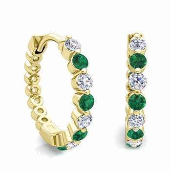 Floating Emerald and Diamond Hoop Earrings in 18k Gold Hoops