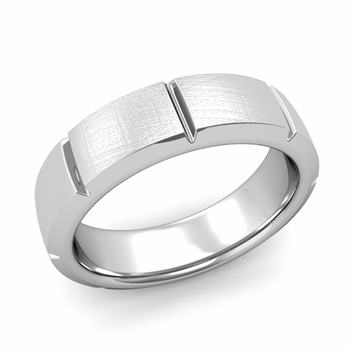 Swiss Cut Wedding Band in Platinum Mixed Brushed Finish Ring, 6mm