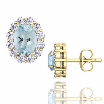 Oval Aquamarine and Halo Diamond Earrings in 18k Gold, 7x5mm Studs