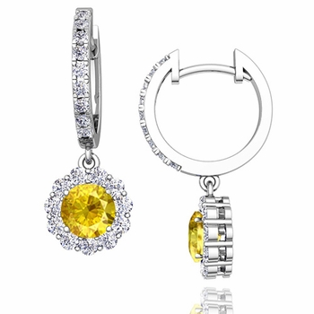 Halo Diamond and Yellow Sapphire Hoop Earrings in 14k Gold, 5mm