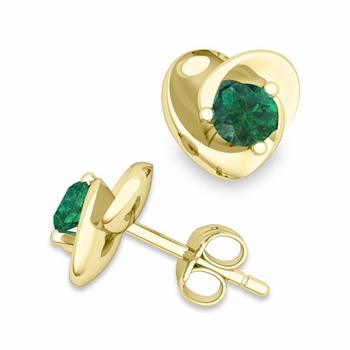 Petal Heart Emerald Stud Earrings in 18k Gold, 4x4mm