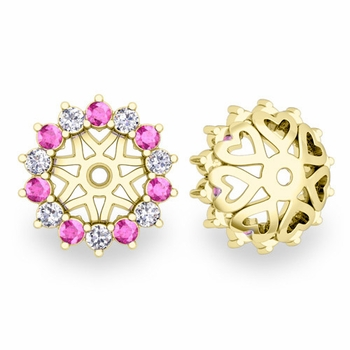 Pink Sapphire and Halo Diamond Earring Jackets in 18k Gold, 6mm