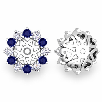 Sapphire and Halo Diamond Earring Jackets in 14k Gold, 5mm