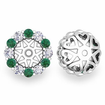 Halo Diamond and Emerald Earring Jackets in 14k Gold, 6mm