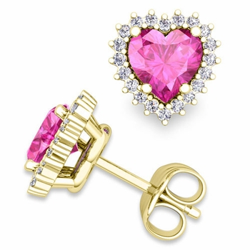 Diamond and Pink Sapphire Earrings in 18k Gold Heart Earring Studs, 5x5mm