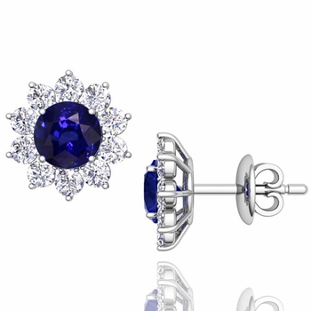 Sapphire and Diamond Halo Earrings in 14k Gold Studs, 5mm