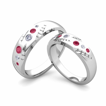 Matching Wedding Ring Set: Flush Set Diamond and Ruby Wedding Band in 14k Gold