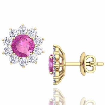 Pink Sapphire and Diamond Halo Earrings in 18k Gold Studs, 5mm