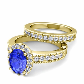 Halo Bridal Set: Milgrain Diamond and Ceylon Sapphire Wedding Ring Set in 18k Gold, 9x7mm