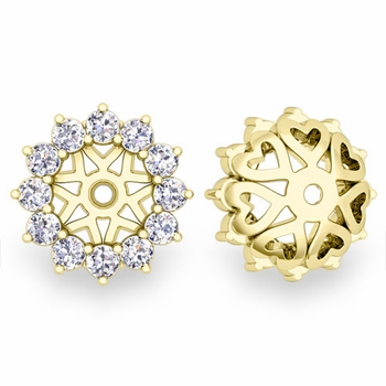 Halo Diamond Earring Jackets in 18k Gold, 5mm