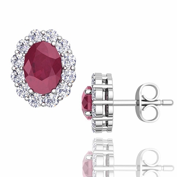 Oval Ruby and Halo Diamond Earrings in 14k Gold, 7x5mm Studs
