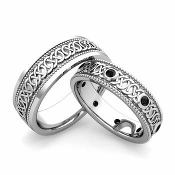 Matching Celtic Wedding Bands in 14k Gold Milgrain Black Diamond Ring