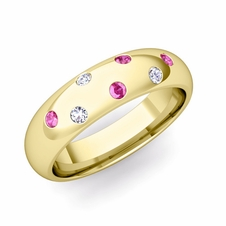 Comfort Fit Scattered Pink Sapphire and Diamond Wedding Band in 18k Gold, 5mm