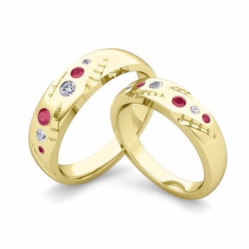 Matching Wedding Ring Set: Flush Set Diamond and Ruby Wedding Band in 18k Gold