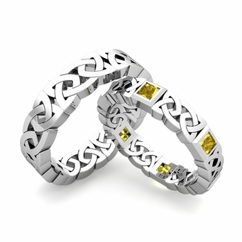 Matching Celtic Wedding Bands in Platinum Princess Cut Yellow Sapphire Eternity Ring